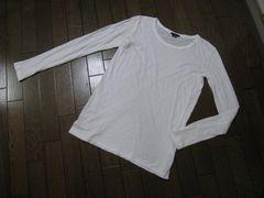 ○セオリー○UネックゆったりTシャツ オフ白 S コットン theory