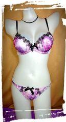 81  D70/M 紫 素敵花 パープル黒ケミカル ブラジャーショーツセット パンティー