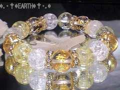 天然石★12ミリ守本尊七字梵字水晶クラック&カラークラック水晶数珠