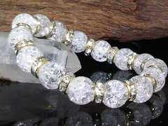 クラック水晶10ミリ§爆裂水晶金ロンデル数珠