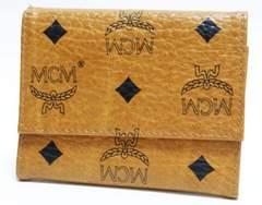 本物 美品 MCM 三つ折り財布 ロゴ柄 キャメル
