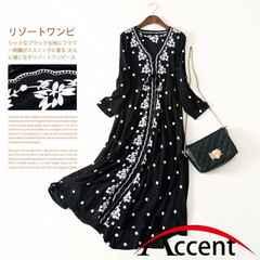 XL ワンピース ブラック エスニック 刺繍 花柄 今期 韓国 新品