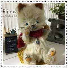 HMティティベア*赤いマフラースタイル猫(ドイリーのおまけ付)