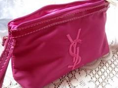 イヴ・サンローラン YSL ナイロン刺繍ポーチ ローズピンク