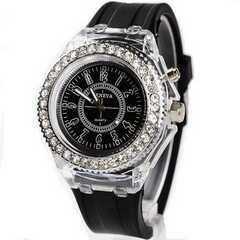 お買得★650円★GenevaレインボーLED腕時計 黒動作保証