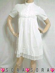 清潔感.涼しげ胸元&裾フラワー刺繍シースルーシフォンチュニックワンピ