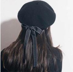 ベレー帽 帽子  ブラック 黒 リボン ゆめかわ フェミニン