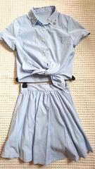 □新品INGNIストライプ半袖シャツ フレアスカートセットアップM