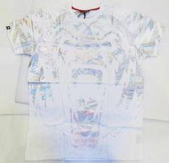 AN98)IMPERIOUS総柄プリントTシャツ半袖(TS540) 白×シルバー