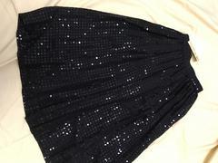 4394 高級M9〜11 絹シルクスパンコールロングスカート