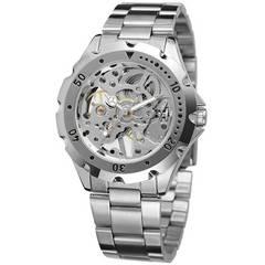 アンティーク風デザイン♪メンズ スケルトン腕時計★シルバー