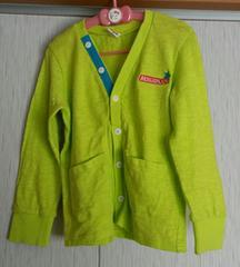 ムージョンジョン☆春物☆黄緑色のカーディガン☆size120