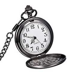 懐中時計 ビンテージ ブラックスチール黒鋼