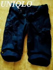【UNIQLO】2WAYスリークオーターカーゴパンツ L(W84〜92�p)/Navy ミリタリー