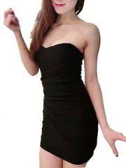 残1枚★卸価格3290円★セクシー ベアトップ ミニ ドレス F 黒