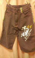新品◆前後プリント&刺繍◆サーフ膝丈パンツ150ラスタ