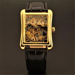 アナログ スケルトンタイプ 手巻き式 金色 メンズ腕時計