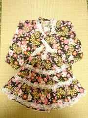 浴衣ドレス黒地に蝶々とお花いっぱい150�a送料込