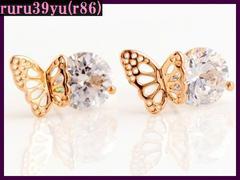 r86/上質ジルコニア/ダイヤcz&可愛い蝶々ピアス/ゴールド
