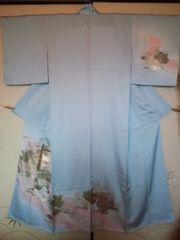 艶ブルー金彩*付下正絹袷155美品レタP