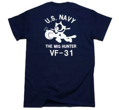 米海軍フェリックス猫Tシャツ・紺白M・新品/ミリタリーNAVY