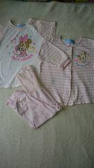 ミニーちゃんパジャマ半袖長袖セット☆80�a