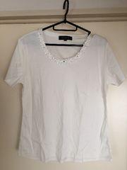 新品!胸元ビジュー半袖Tシャツ!Lサイズ!スーツインナー