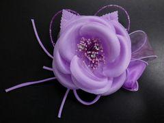 振袖成人式&袴&浴衣♪髪飾りコサージュラインストーン&ビーズ薄紫可憐花