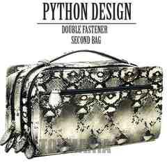 新品 オラオラ系 パイソン柄 蛇柄 ダブルファスナー セカンドバッグ メンズ 白 新品
