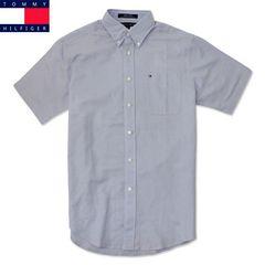 『トミーヒルフィガー』半袖シャツ1806-003/ブルー/S