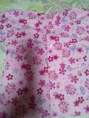 ☆新品ピンク×桜蝶柄ダボシャツ80