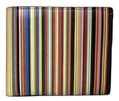 正規ポールスミス財布マルチストライプ二つ折りコインケースありメンズレザーPaul Smith