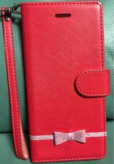 新品 iPhone6 plus用 リボン付き手帳型ケース ピンク