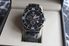 アルマーニ メンズ腕時計 クォーツ ブラック