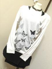 美品■Barakバラクバタフライ蝶プリントロンTプルオーバーホワイト