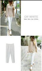 テーパード センタープレス ホワイト 白 パンツ