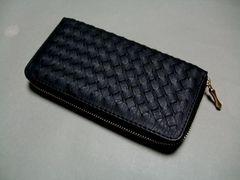 【即決 激安】高級感アップ 合皮メッシュ ラウンド財布 新品 BK