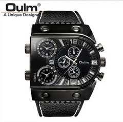 海外デザイナーズブランド Oulm 腕時計 3タイムゾーン時計  黒