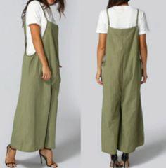 新品【7603】XXXL☆春夏用シンプルなオリーブ色のオールインワン