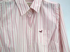 ホリスター レディース シャツ L ストライプ ピンク 長袖正規