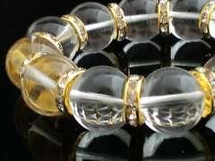 高級天然石☆本水晶16ミリ×金ロンデル数珠