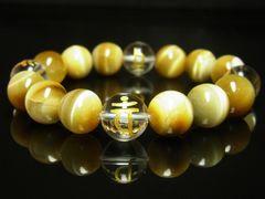 金彫梵字 本水晶 ゴールデンタイガーアイ ブレスレット 12mm 数珠