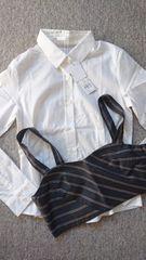 □新品Lilidiaオフホワイト ビスチェ付きシャツ□0