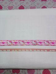 【伸縮】ピンク色:約16mm巾 キティ柄ゴム素材リボン1M