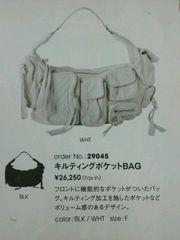 SLY★ラムレザーキルティングポケットショルダーバッグFホワイト 羊革本革クロワッサンバック鞄