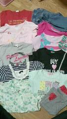 110ガールズ女の子11着まとめ売りTシャツ7.ズボン2.ロンT1.シャツ1激安