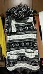 白黒フリースチュニックミニワンピースマフラー付き雪の結晶柄M