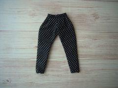 リカちゃんサイズ 細身パンツ ピンドット柄 ブラック