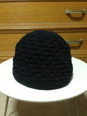 古着レトロ 麻ヘンプ+綿 編み込みニットキャップ帽子 無地 黒色 Sサイズ小さめ