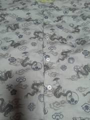 ☆新柄薄グレー×雲龍家紋和柄ダボシャツ140